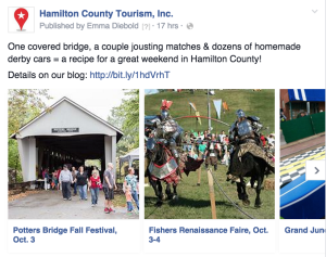 Carousel-type post from TwoSix Digital client, Hamilton County Tourism