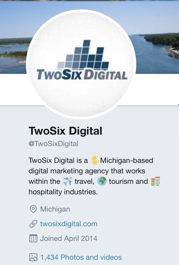 TwoSix Digital's twitter bio with emojis and links
