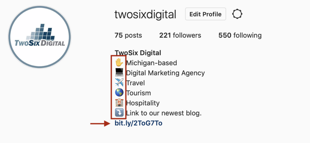 TwoSix Digital using a link shortener on Instagram