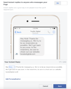 TwoSix Digital Facebook Instant Replies Example