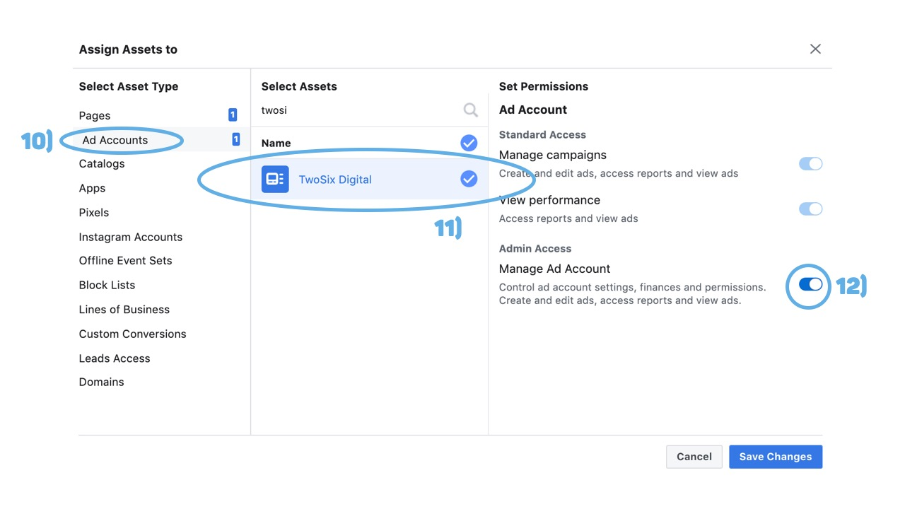 Facebook Business Manager Assign Ad Account to Partner