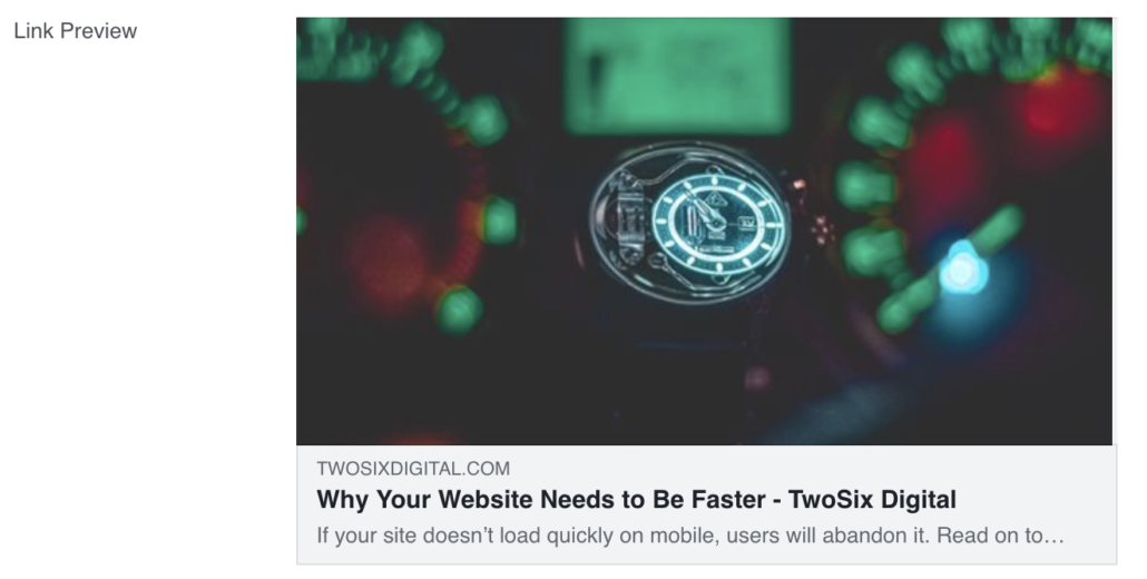 Why Your Website Needs to Be Faster - Facebook Link Preview