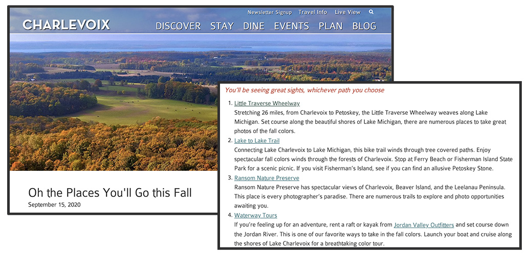 Charlevoix Fall Nature Trails Example - Specific